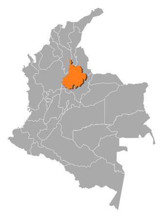 Map of Colombia with the provinces, Santander is highlighted by orange. Illustration