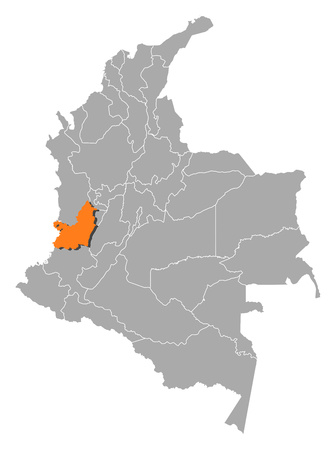 Map of Colombia with the provinces, Valle del Cauca is highlighted by orange. Illustration