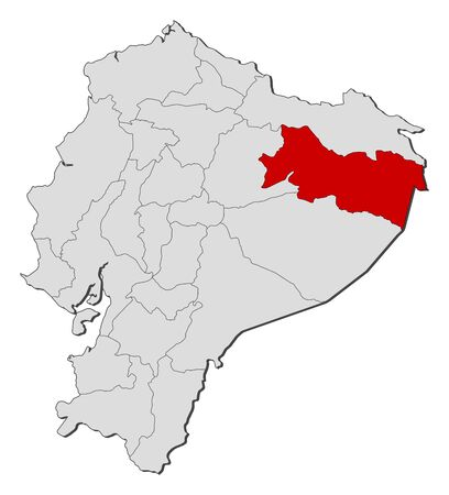 Map of Ecuador with the provinces, Orellana is highlighted.