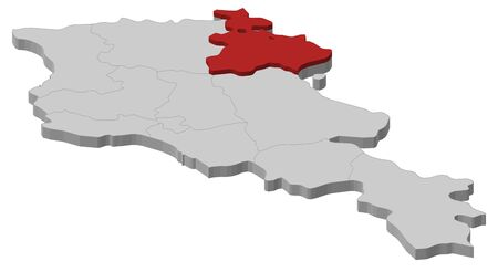 Map of Armenia as a gray piece, Tavush is highlighted in red.