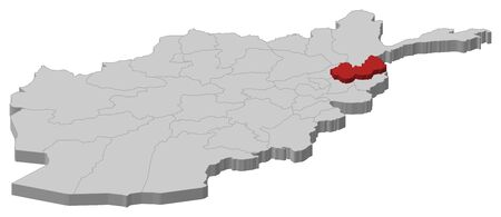 Map of Afghanistan as a gray piece, Nuristan is highlighted in red.