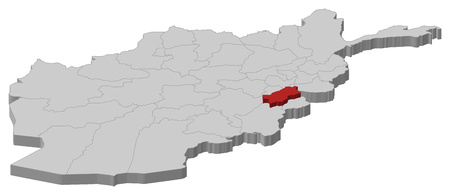 Map of Afghanistan as a gray piece, Paktia is highlighted in red.