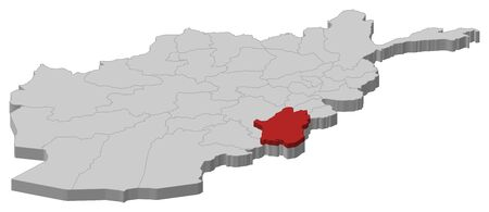 Map of Afghanistan as a gray piece, Paktika is highlighted in red.