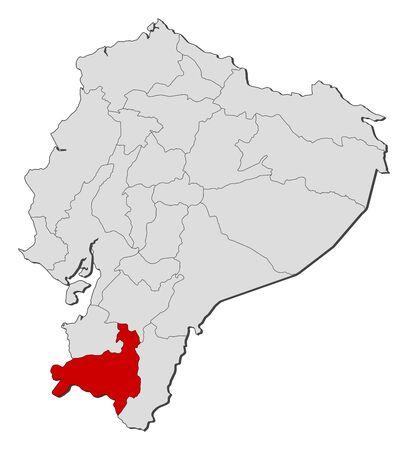 republic of ecuador: Map of Ecuador with the provinces, Loja is highlighted.