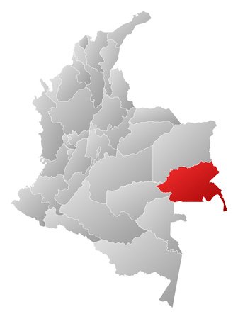 Map of Colombia with the provinces, filled with a linear gradient, Guainia is highlighted.