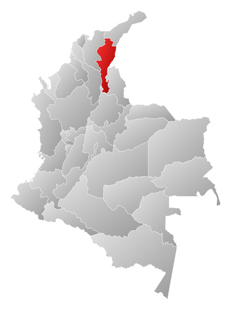 Map of Colombia with the provinces, filled with a linear gradient, Cesar is highlighted. Illustration