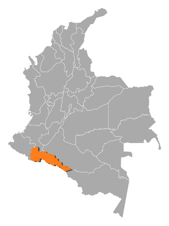 Map of Colombia with the provinces, Putumayo is highlighted by orange.