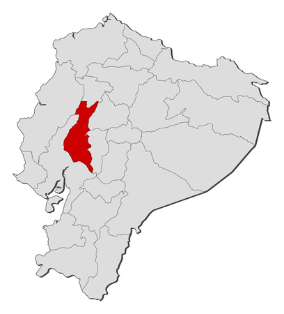 Map of Ecuador with the provinces, Los Rios is highlighted. Illustration