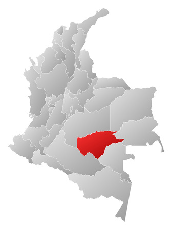Map of Colombia with the provinces, filled with a linear gradient, Guaviare is highlighted.