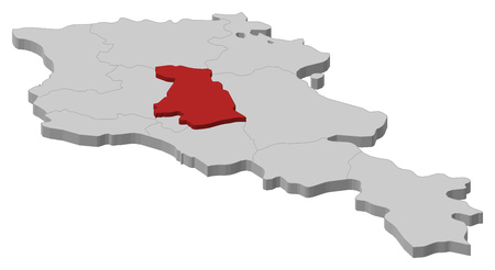 Map of Armenia as a gray piece, Kotayk is highlighted in red.