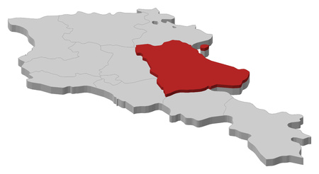 Map of Armenia as a gray piece, Gegharkunik is highlighted in red.