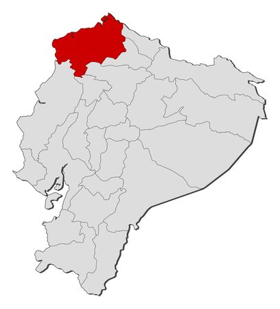Map of Ecuador with the provinces, Esmeraldas is highlighted.