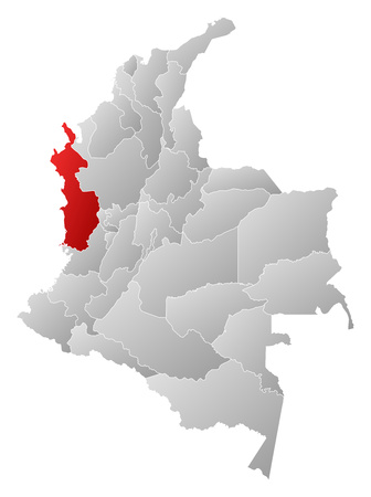 Map of Colombia with the provinces, filled with a linear gradient, Choco is highlighted.
