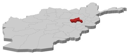 Map of Afghanistan as a gray piece, Parwan is highlighted in red.