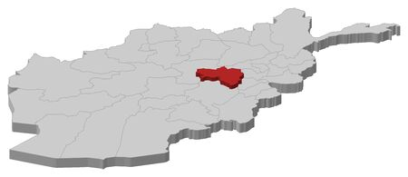 Map of Afghanistan as a gray piece, Wardak is highlighted in red.