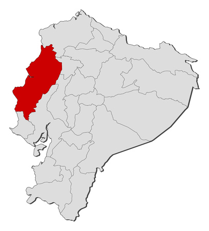 Map of Ecuador with the provinces, Manabi is highlighted.