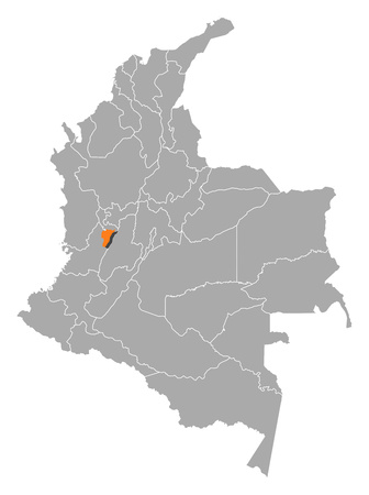 Map of Colombia with the provinces, Quindio is highlighted by orange. Illustration