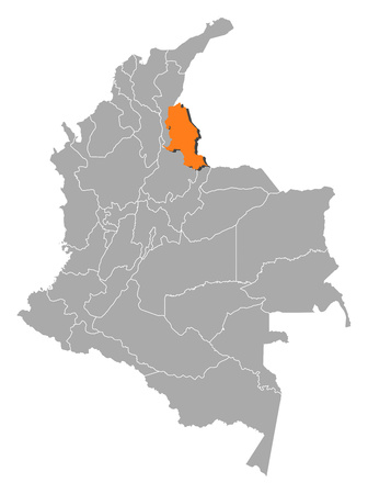 Map of Colombia with the provinces, Norte de Santander is highlighted by orange.