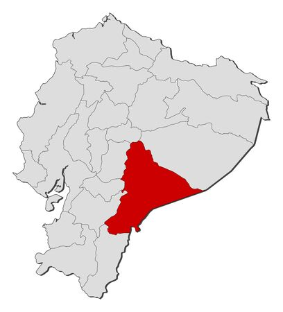 Map of Ecuador with the provinces, Morona-Santiago is highlighted.