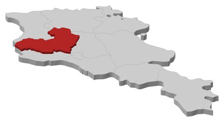 Map of Armenia as a gray piece, Aragatsotn is highlighted in red.