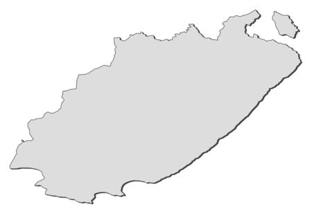 Map of Eastern Cape, a province of South Africa. Illustration