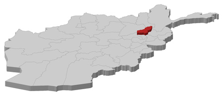 Map of Afghanistan as a gray piece, Panjshir is highlighted in red. Illustration