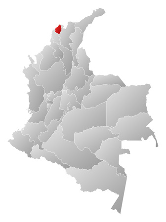 Map of Colombia with the provinces, filled with a linear gradient, Atlantico is highlighted. 矢量图像
