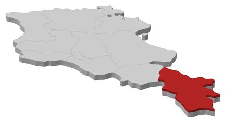 Map of Armenia as a gray piece, Syunik is highlighted in red. 矢量图像