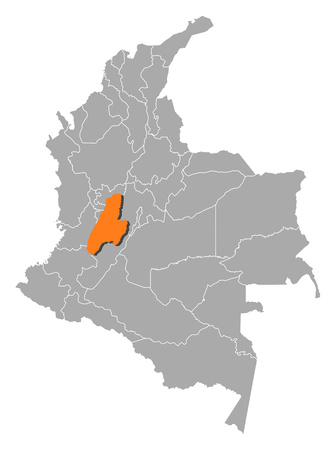 Map of Colombia with the provinces, Tolima is highlighted by orange. Illustration