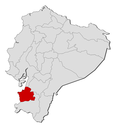 Map of Ecuador with the provinces, El Oro is highlighted.