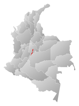 Map of Colombia with the provinces, filled with a linear gradient, Bogota is highlighted. Illustration