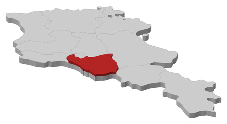 Map of Armenia as a gray piece, Ararat is highlighted in red.
