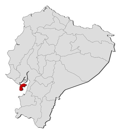 Map of Ecuador with the provinces, Guayas is highlighted.