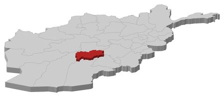 Map of Afghanistan as a gray piece, Urozgan is highlighted in red. Illustration