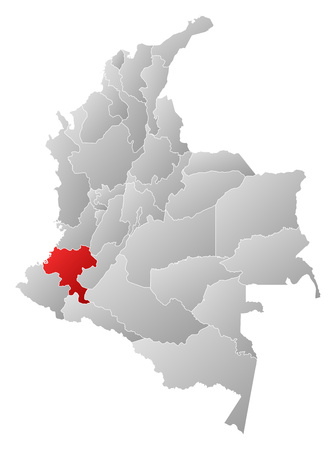 Map of Colombia with the provinces, filled with a linear gradient, Cauca is highlighted. Illustration