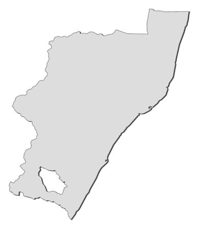 Map of KwaZulu-Natal, a province of South Africa.