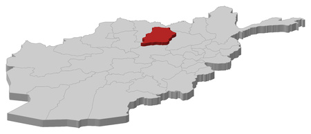 Map of Afghanistan as a gray piece, Samangan is highlighted in red.