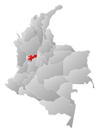 Map of Colombia with the provinces, filled with a linear gradient, Caldas is highlighted. Illustration