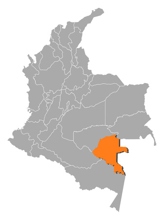 Map of Colombia with the provinces, Vaupes is highlighted by orange.
