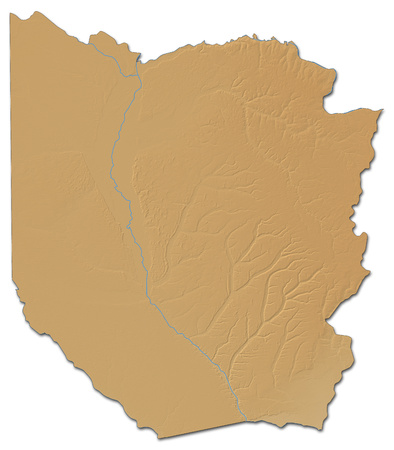 shady: Relief map of Western, a province of Zambia, with shaded relief.