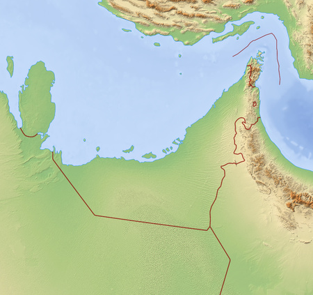 Relief Map of United Arab Emirates and nearby countries.