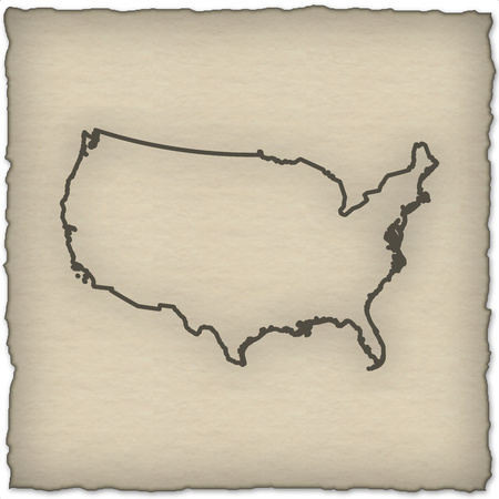 cartography: Map of United States and nearby countries in historic design. Stock Photo