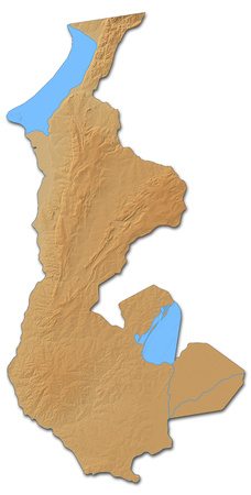 Relief map of Luapula, a province of Zambia, with shaded relief.