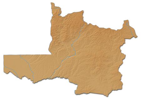 Relief map of North-Western, a province of Zambia, with shaded relief.