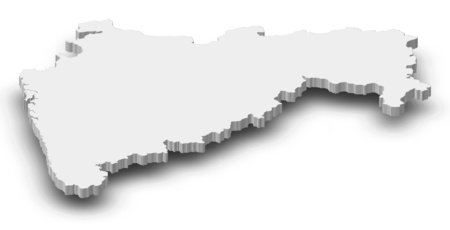 Map of Maharashtra, a province of India, as a gray piece with shadow.