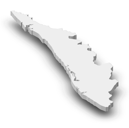 kerala: Map of Kerala, a province of India, as a gray piece with shadow.