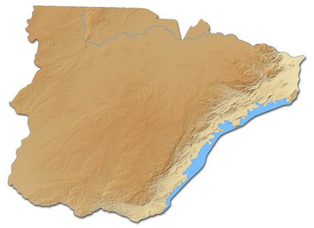 Relief map of Southern, a province of Zambia, with shaded relief. Stock Photo