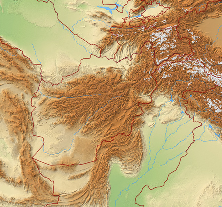 Relief Map of Afghanistan and nearby countries.