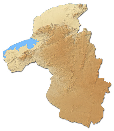Relief map of Mashonaland West, a province of Zimbabwe, with shaded relief.