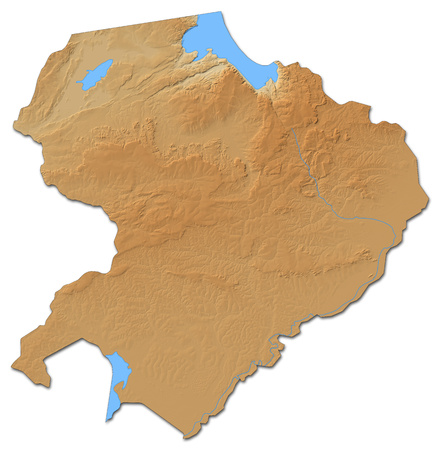 Relief map of Northern, a province of Zambia, with shaded relief. Stock Photo